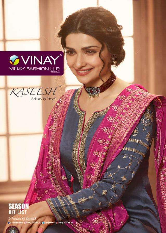 VINAY FASHION KASHEESH SEASON HIT LIST DESIGNER EMBROIDERED MUSLIN SATIN WITH CHINON EMBROIDERY WORK DUPATTA HEAVY SUITS WHOLESALE