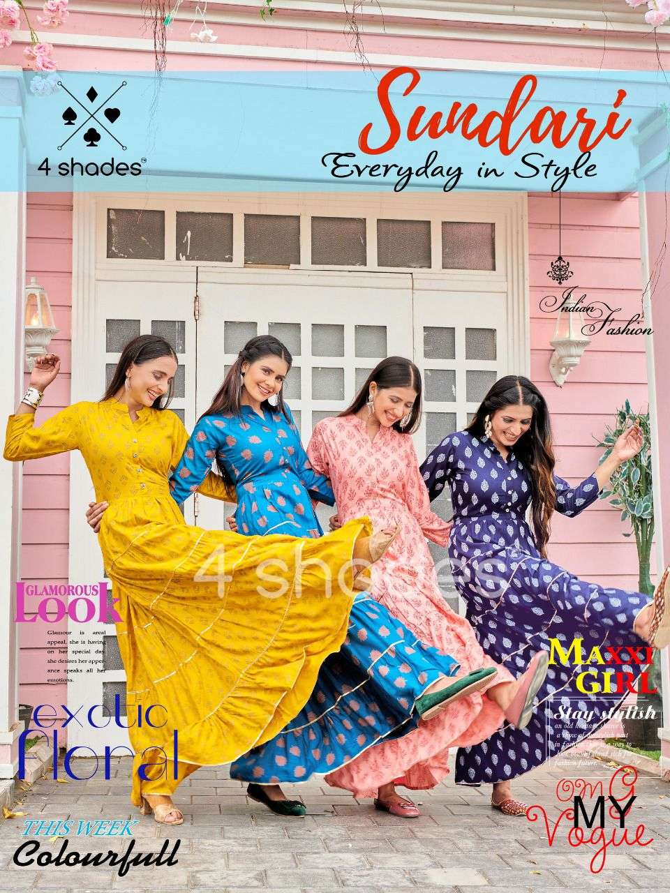 4 SHADES BY BLUE HILLS SUNDARI VOL 1 DESIGNER RAYON PRINTED LONG OUTDOOR WEAR GOWNS WHOLESALE