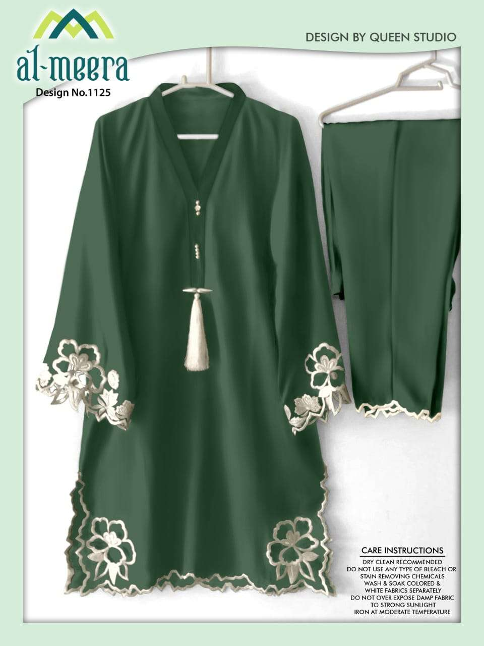 AL MEERA D.NO 1125 DESIGNER PEACOCK GREEN EMBROIDERY WORK KURTI WITH BOTTOM IN SINGLES