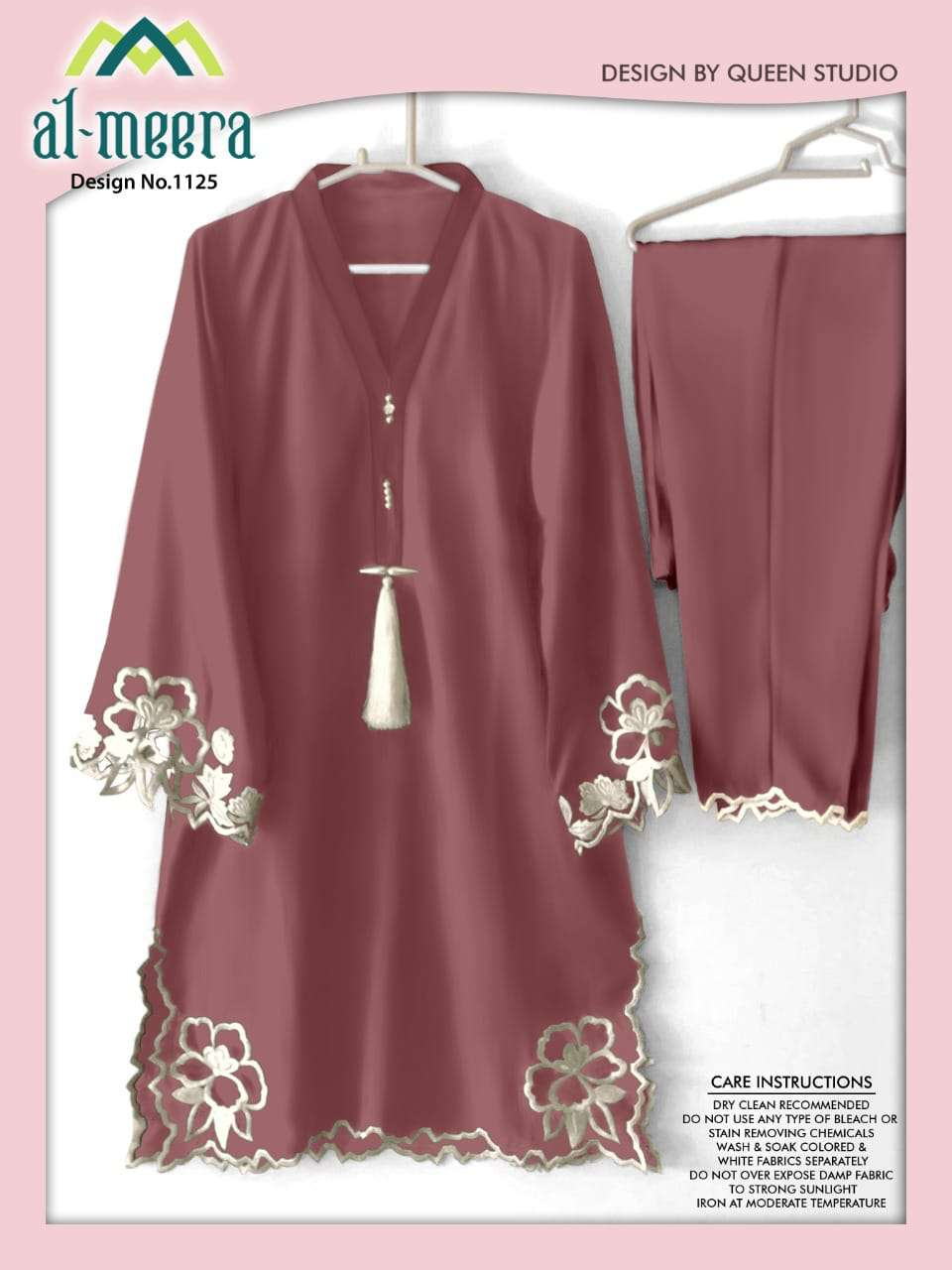 AL MEERA D.NO 1125 DUSTY PINK DESIGNER EMBROIDERY WORK KURTI WITH BOTTOM PARTYWEAR IN SINGLES