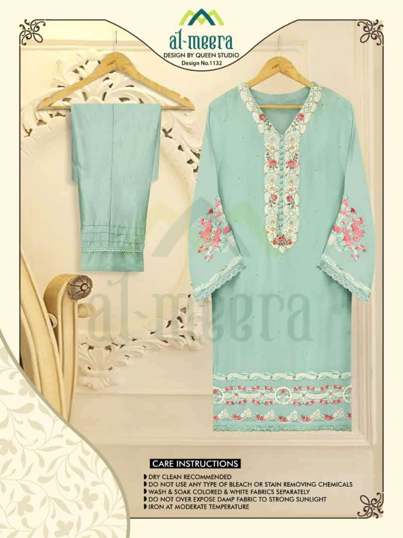 AL MEERA D.NO 1132 DESIGNER FOX GEORGETTE WITH EMBROIDERY WORK SHIRT WITH PANT IN SINGLES