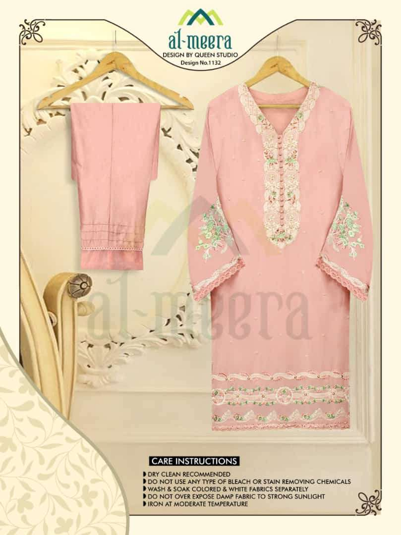 AL MEERA D.NO 1132 DESIGNER GEORGETTE WITH EMBROIDERY WORK KURTI WITH PANT IN SINGLES