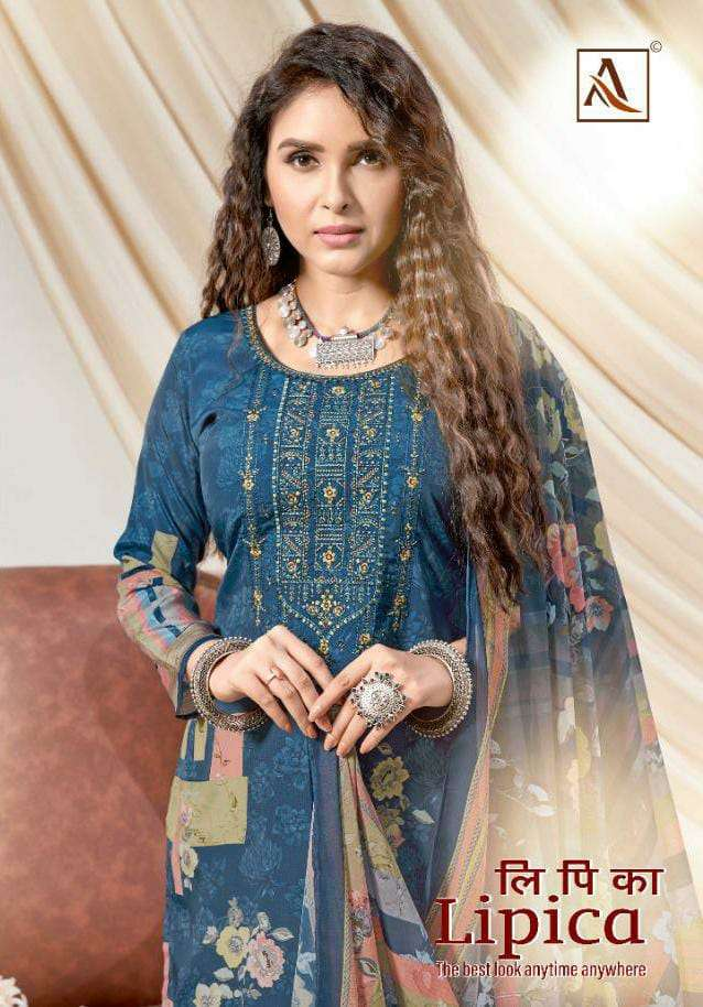 ALOK SUIT LIPICA DESIGNER FRENCH CREPE DIGITAL PRINT WITH EMBROIDERY WORK SUITS WHOLESALE