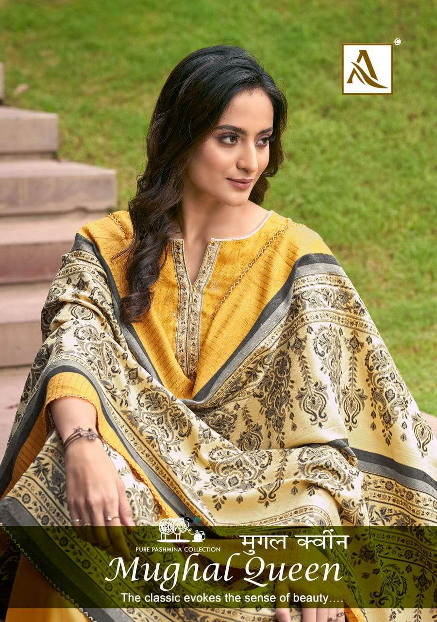 ALOK SUIT MUGHAL QUEEN DESIGNER WOOL PASHMINA PRINT WITH GOLD PRINT TOUCH WINTER WEAR SUITS WHOLESALE