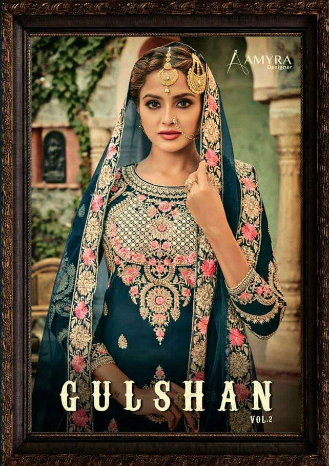 AMAYRA GULSHAN VOL 2 DESIGNER BLOOMING GEORGETTE WITH HEAVY EMBROIDERY WORK WITH DIAMONDS BRIDAL WEAR SUITS WHOLESALE