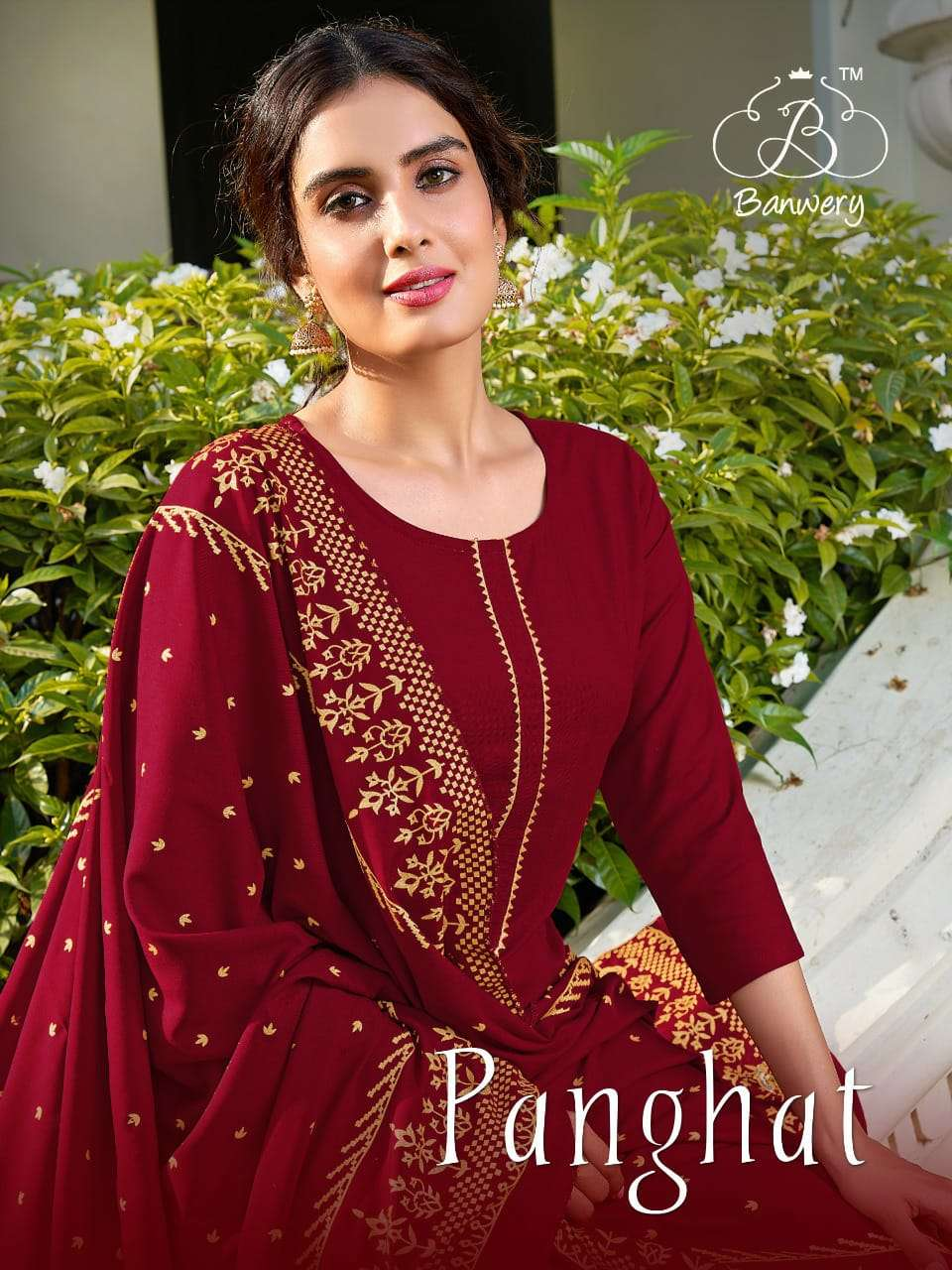 BANWERY PANGHAT DESIGNER RAYON FOIL PRINTED READYMADE PARTYWEAR SUITS WHOLESALE