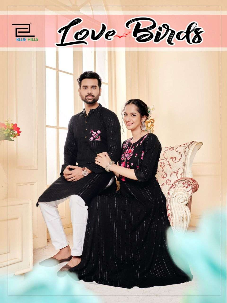 BLUE HILLS LOVE BIRDS DESIGNER RAYON LUREX EMBROIDERY WORK LONG GOWN STYLE KURTIS WITH MEN KURTA PARTYWEAR COMBO COLLECTION WHOLESALE