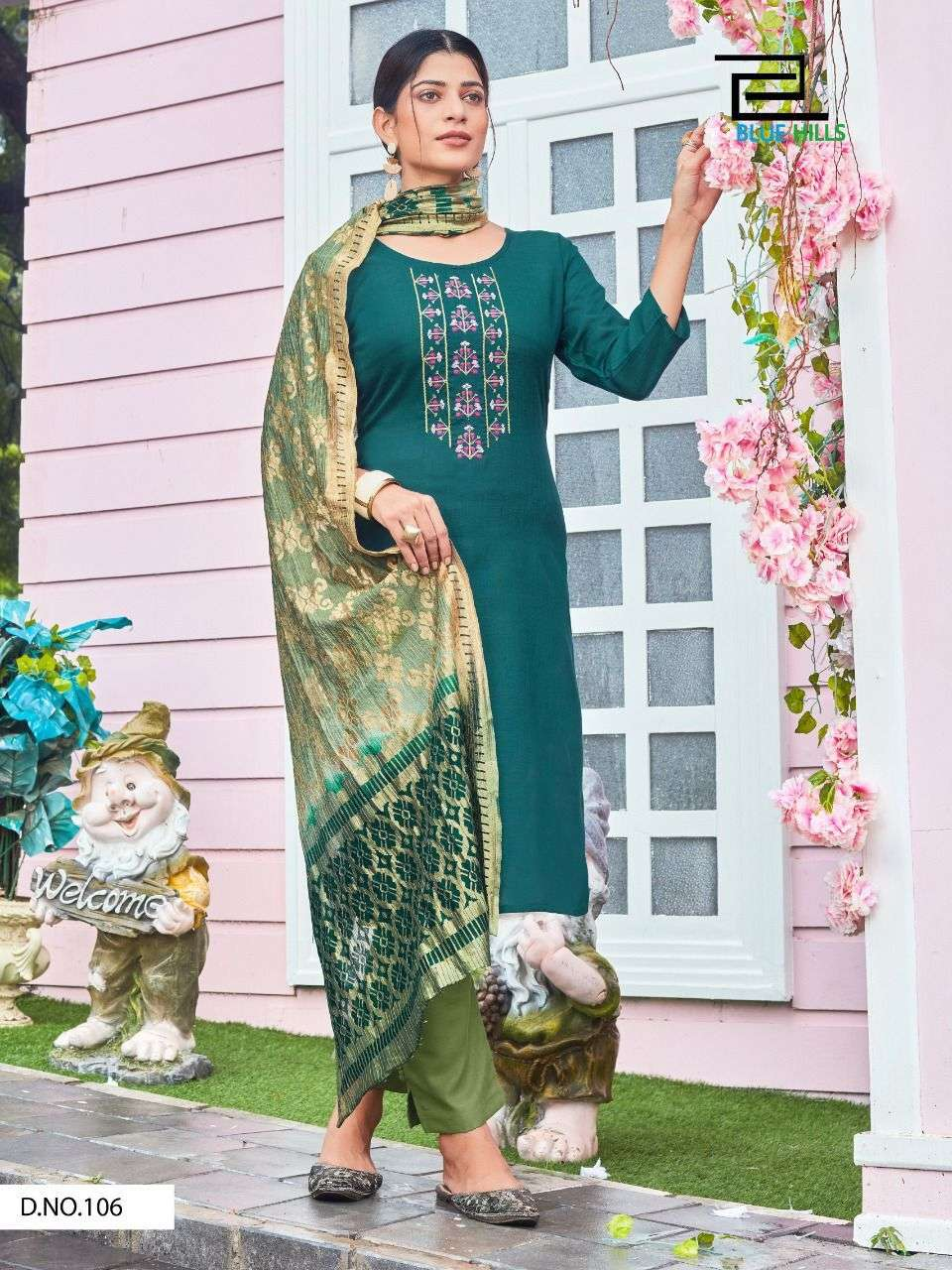 BLUE HILLS QUEEN VOL 3 DESIGNER RUBY SLUB WITH THREAD EMBROIDERY WORK READYMADE SUITS WHOLESALE