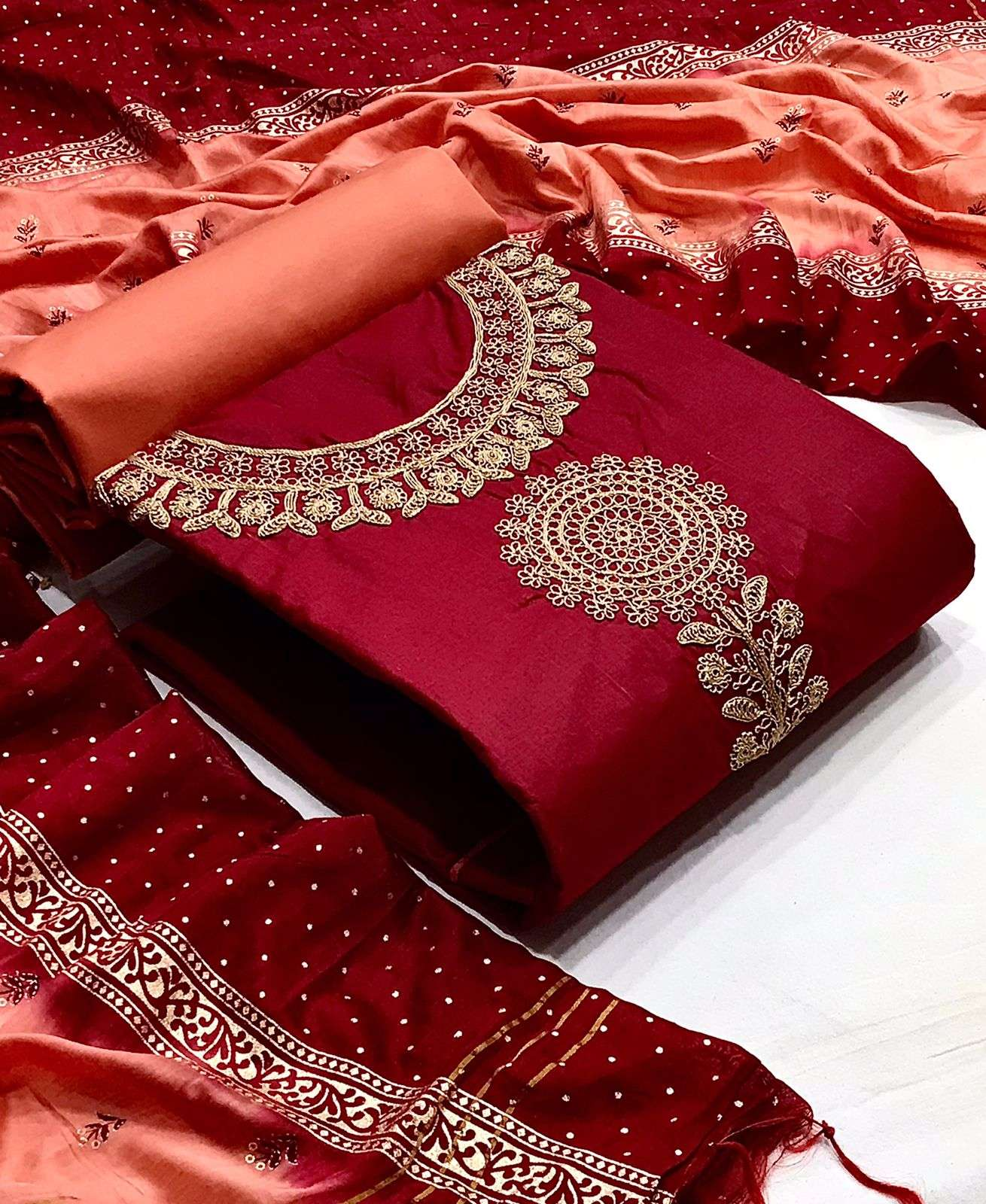 D.NO. 3 DESIGNER COTTON WITH NECK COADING EMBROIDERY WORK CASUAL WEAR SUITS IN SINGLES