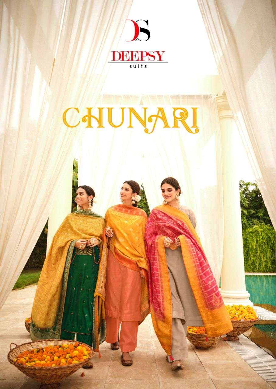 DEEPSY SUITS CHUNARI DESIGNER TUSSER SILK WITH EMBROIDERY WORK OCCASIONAL WEAR SUITS WHOLESALE