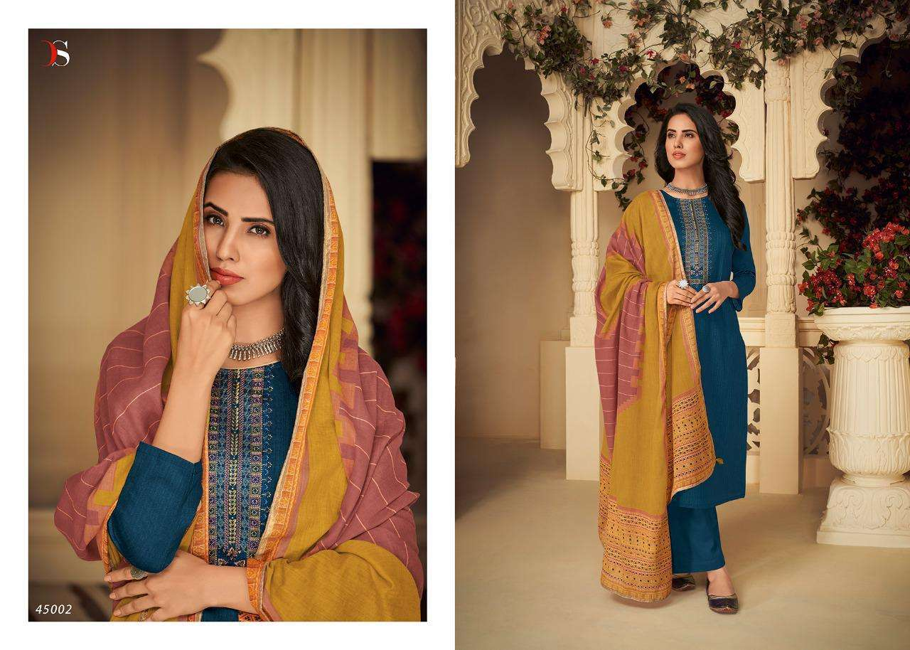 DEEPSY SUITS PANGHAT-4 DESIGNER JAM COTTON PRINT WITH SELF EMBROIDERY WORK SUITS IN SINGLES