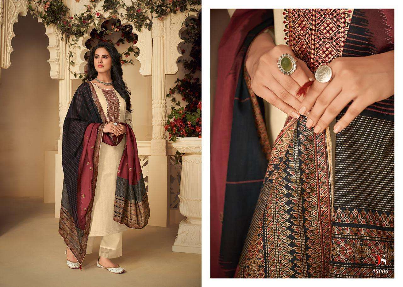 DEEPSY SUITS PANGHAT-4 DESIGNER JAM COTTON WITH SELF EMBROIDERY WORK SUITS IN SINGLES