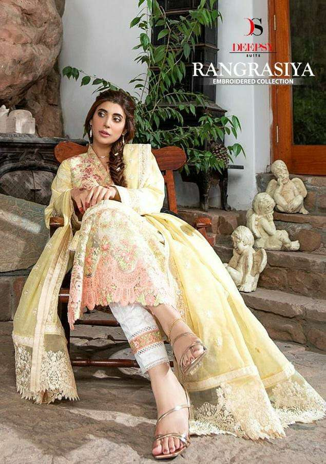 DEEPSY SUITS RANGRASIYA EMBROIDERED COLLECTION DESIGNER PURE COTTON WITH EMBROIDERY WORK SUITS WHOLESALE