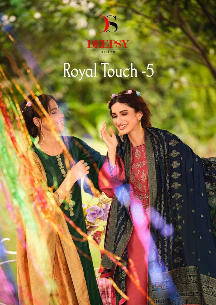 DEEPSY SUITS ROYAL TOUCH-5 DESIGNER TUSSER SILK WITH EMBROIDERY WORK SUITS WHOLESALE