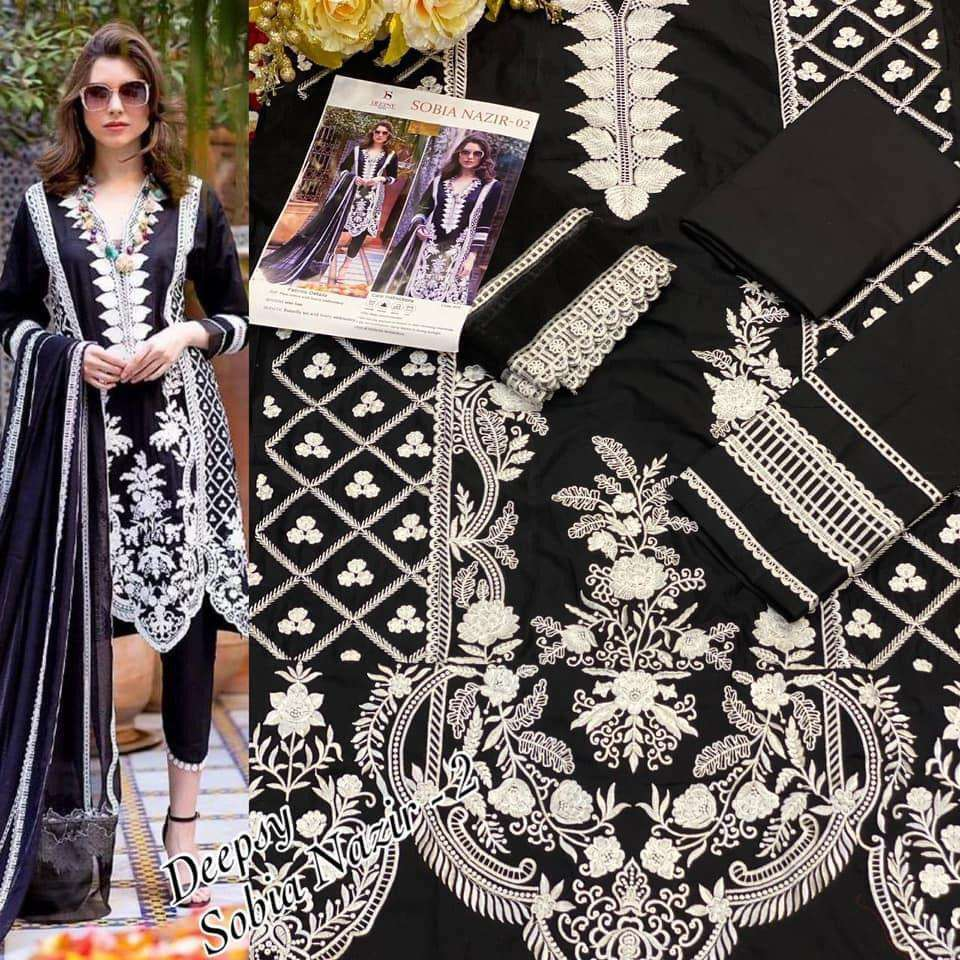 DEEPSY SUITS SOBIA NAZIR DESIGNER COTTON PRINTED WITH EMBROIDERY WORK SUITS IN SINGLES