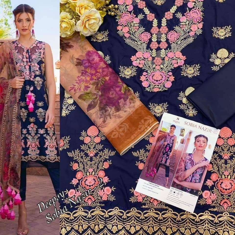 DEEPSY SUITS SOBIA NAZIR DESIGNER COTTON WITH EMBROIDERY WORK PAKISTANI PATTERN SUITS IN SINGLES