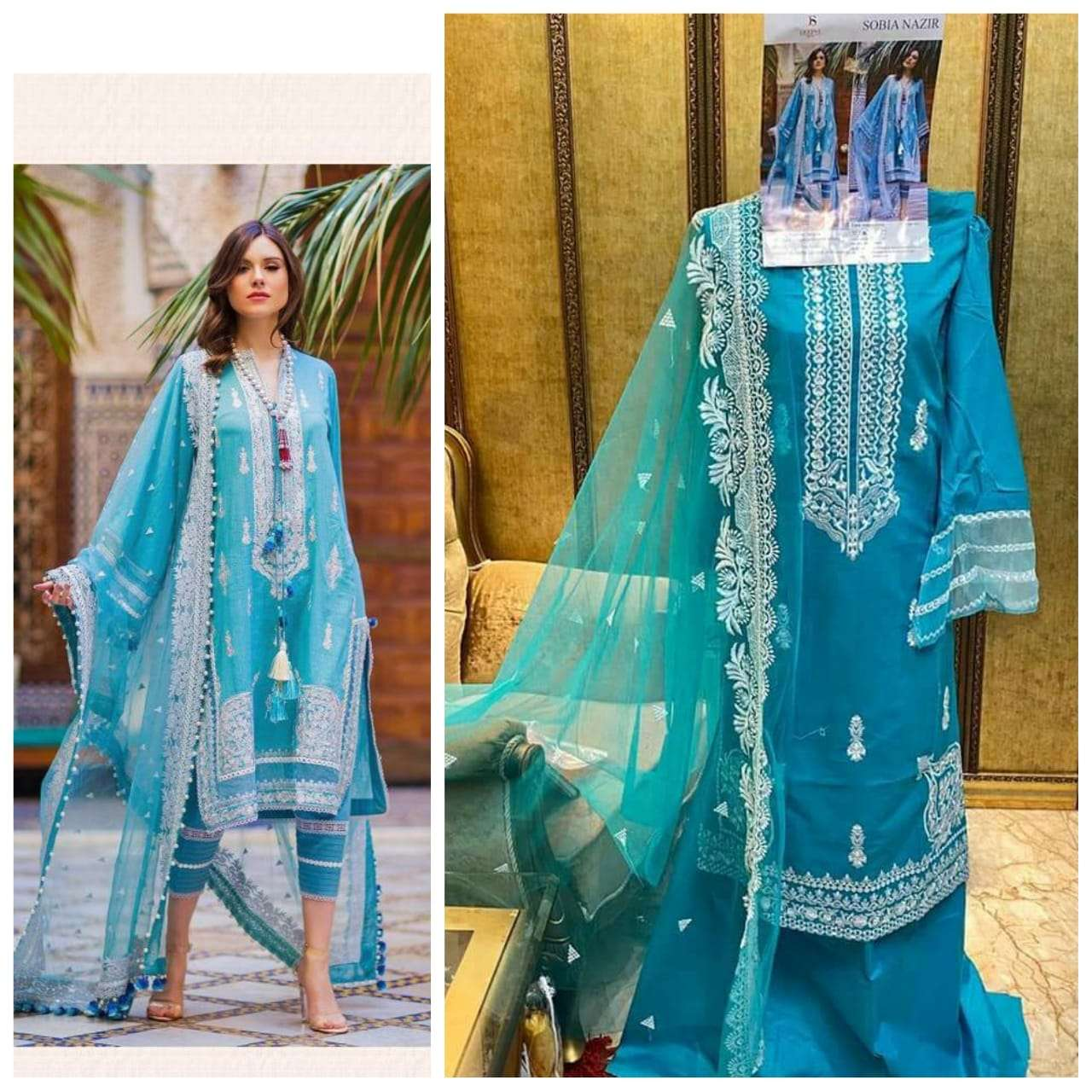 DEEPSY SUITS SOBIA NAZIR DESIGNER COTTON WITH EMBROIDERY WORK SUITS IN SINGLES