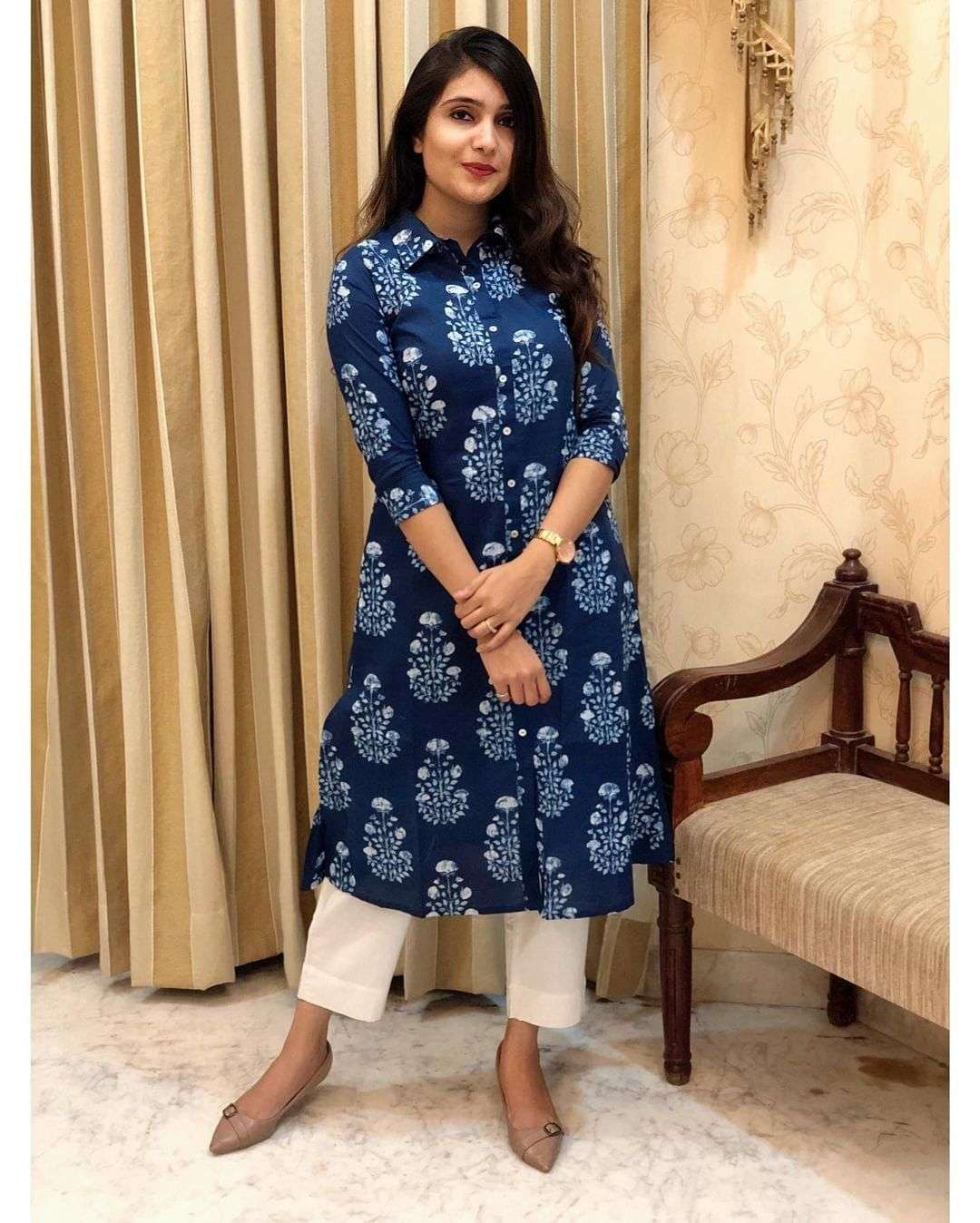 DESIGNER COTTON DIGITAL PRINTED KURTI WITH PLAZZO READYMADE OUTDOOR WEAR IN SINGLES