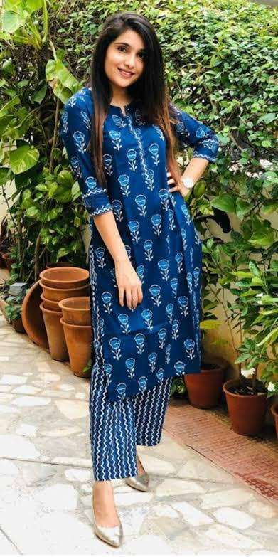 DESIGNER DAILY WEAR COTTON RAYON PRINTED KURTI WITH PANT IN SINGLES