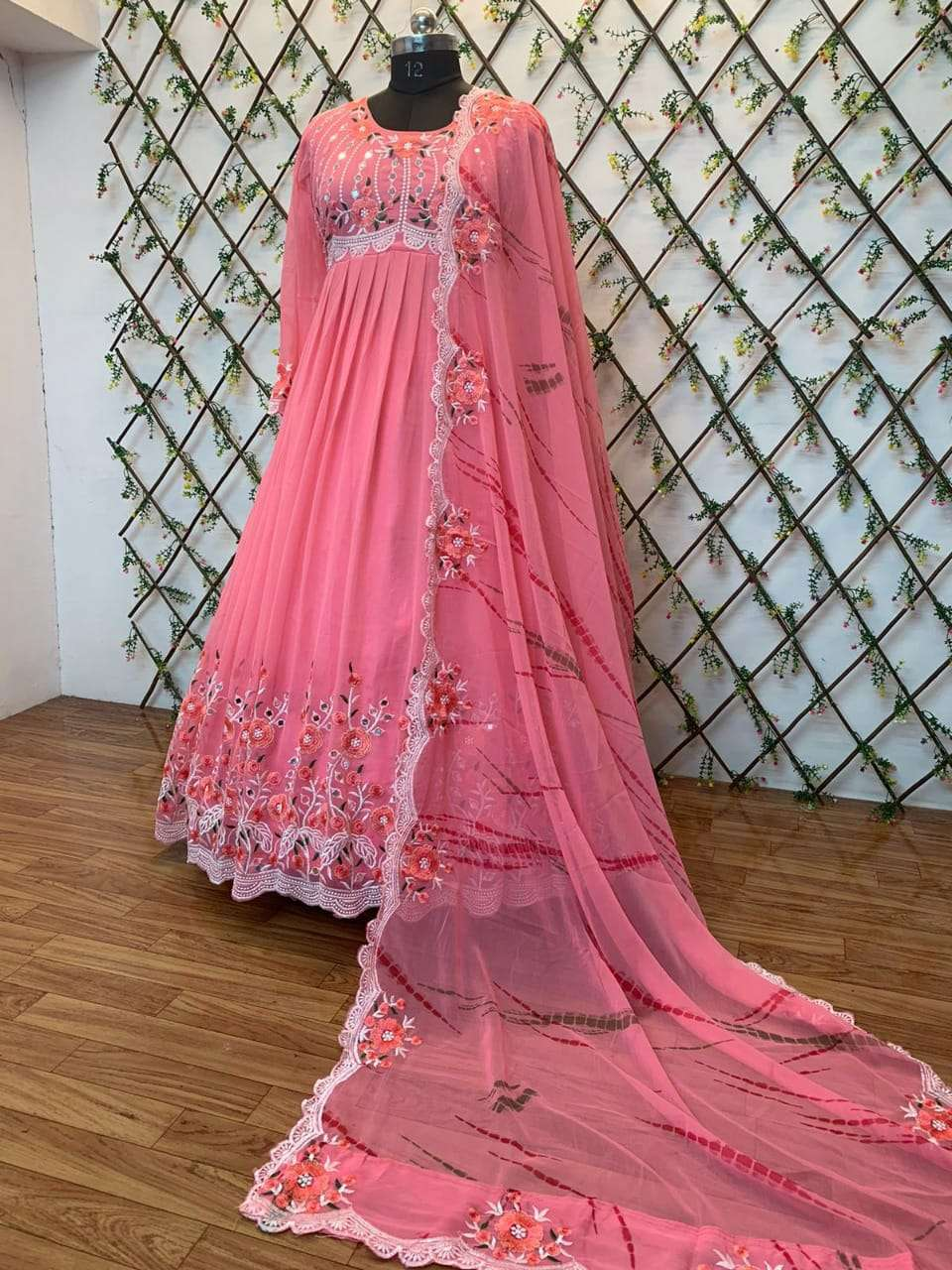 DESIGNER GEORGET WITH HEAVY EMBROIDERY WORK WITH REAL MIRROR HANDWORK FULL STITCHED PARTYWEAR GOWNS WHOLESALE