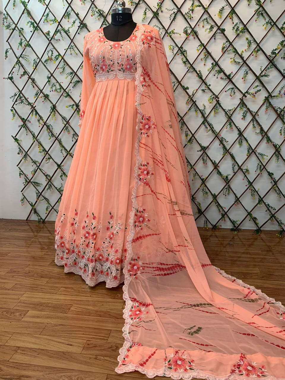 DESIGNER GEORGETE WITH HEAVY EMBROIDERY WORK WITH REAL MIRROR HANDWORK FULL STITCHED PARTYWEAR GOWNS WHOLESALE