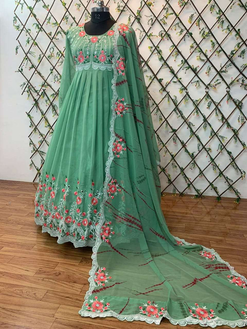 DESIGNER GEORGETTE HEAVY EMBROIDERY WORK WITH REAL MIRROR HANDWORK FULL STITCHED PARTYWEAR GOWNS WHOLESALE