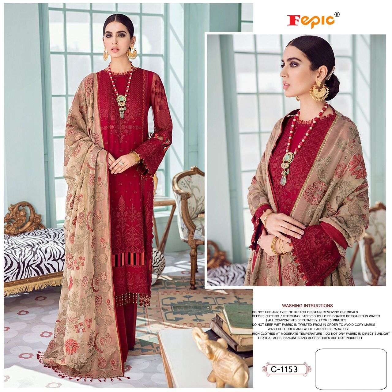 FEPIC ROSEMEEN D.NO-C 1153 DESIGNER GEORGETTE WITH HEAVY EMBROIDERY WORK PARTYWEAR PAKISTANI REPLICA SUITS IN SINGLES