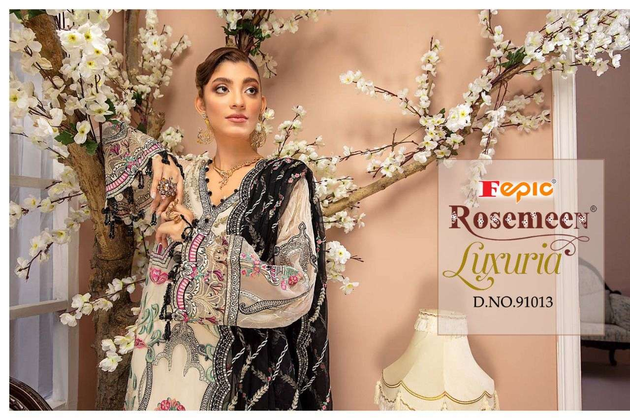 FEPIC ROSEMEEN LUXURIA DESIGNER FAUX GEORGETTE WITH HEAVY EMBROIDERY WORK PAKISTANI REPLICA SUITS WHOLESALE