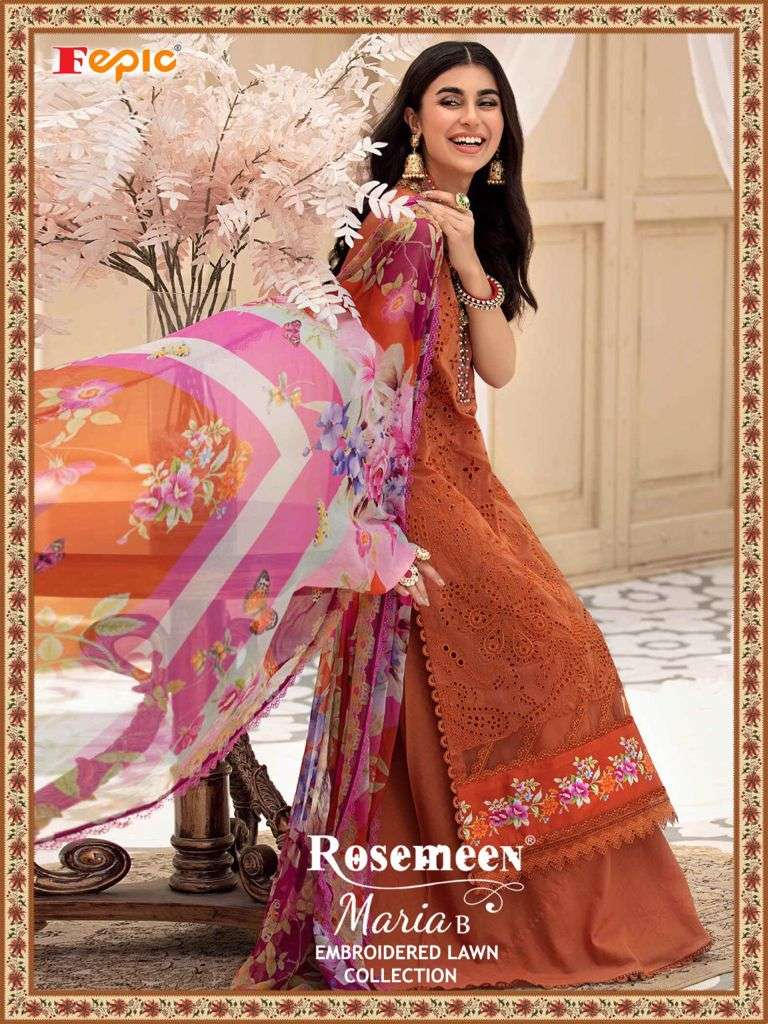 FEPIC ROSEMEEN MARIA B EMBROIDERED LAWN COLLECTION DESIGNER COTTON EMBROIDERED PAKISTANI PATTERN CASUAL WEAR SUITS WHOLESALE