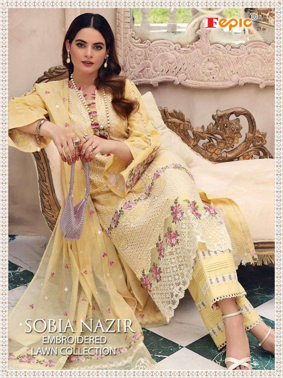 FEPIC ROSEMEEN SOBIA NAZRIR EMBROIDERY LAWN COLLECTION DESIGNER PURE COTTON WITH EMBROIDERY WORK PARTYWEAR PAKISTANI REPLICA SUITS WHOLESALE