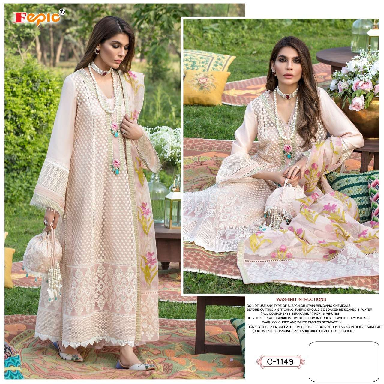 FEPIC TO D.NO-C1149 DESIGNER NET HEAVY EMBROIDERY WORK PAKISTANI REPLICA SUITS IN SINGLES