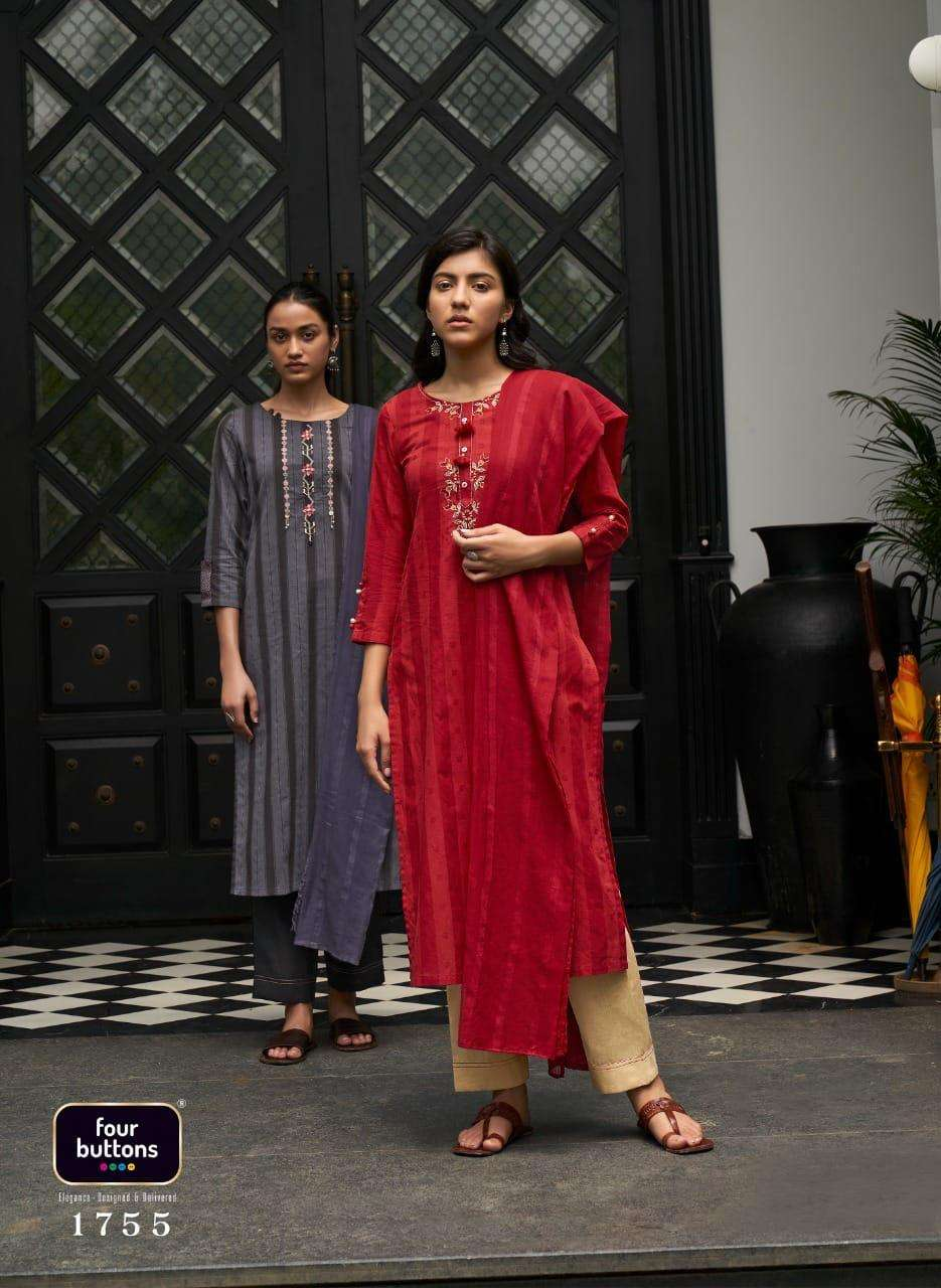 FOUR BUTTONS ZIBA DESIGNER COTTON WOVEN STRIPES EMBROIDERY WORK PARTYWEAR READYMADE SUITS WHOLESALE