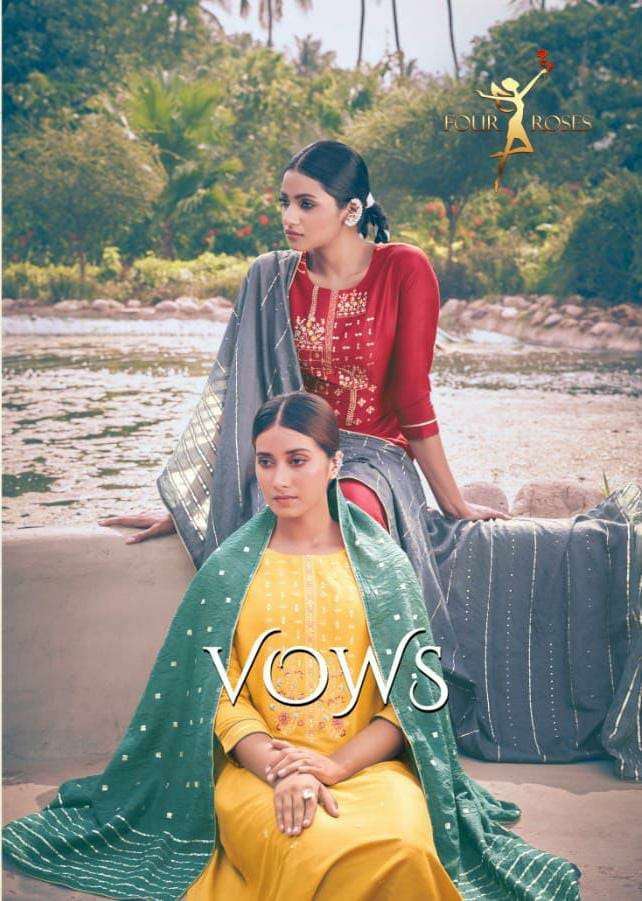 FOUR ROSES VOWS DESIGNER CHINON WITH HEAVY EMBROIDERY WORK KURTI WITH PANT AND VISCOSE SEQUENCE WORK DUPATTA READYMADE SUITS WHOLESALE