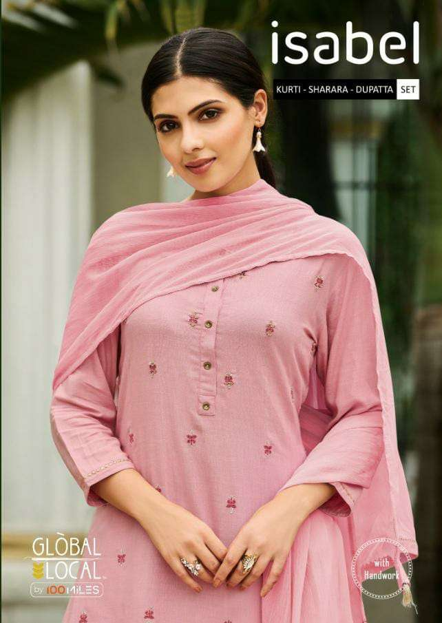 GLOBAL LOCAL ISABEL DEAIGNER RAYON EMBROIDERY WORK KURTI WITH SHARARA AND CRINKLED DUPATTA READYMADE PARTYWEAR SUITS WHOLESALE