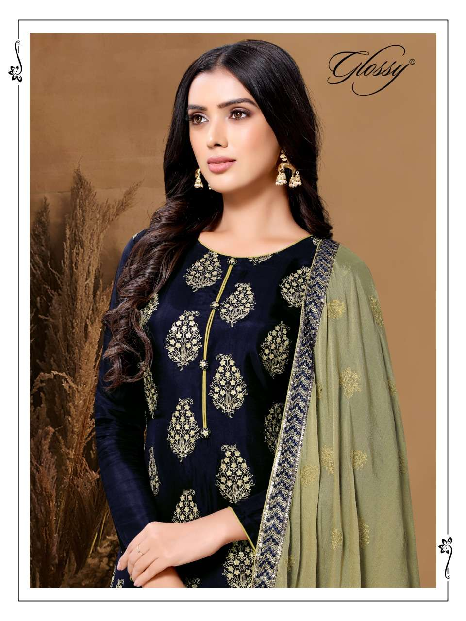 GLOSSY NAIRA DESIGNER VISCOSE UPADA EMBROIDERY WORK PARTYWEAR SUITS WHOLESALE