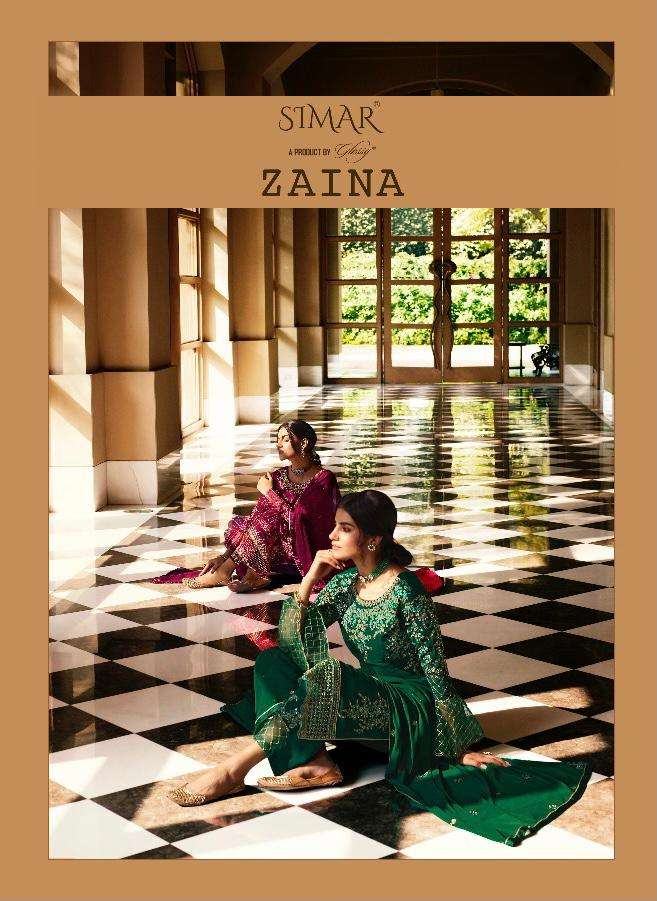GLOSSY ZAINA DESIGNER PURE GEORGETTE WITH HEAVY EMBROIDERY WORK PARTYWEAR SUITS WHOLESALE