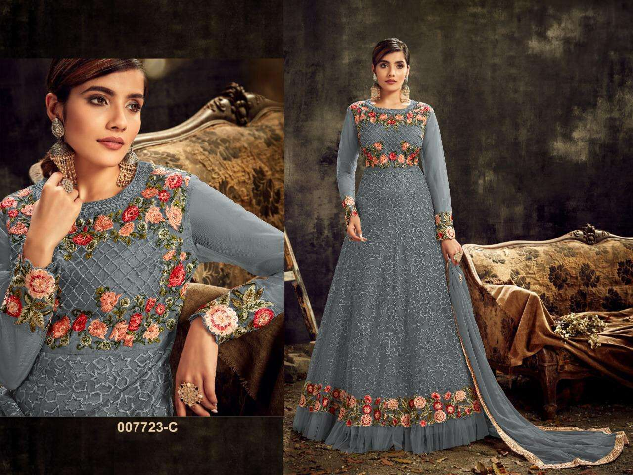 HOTLADYY 7723 06 DESIGNER HEAVY NET EMBROIDERY WORK PARTYWEAR UNSTITCHED GOWN WITH DUPATTA IN SINGLES