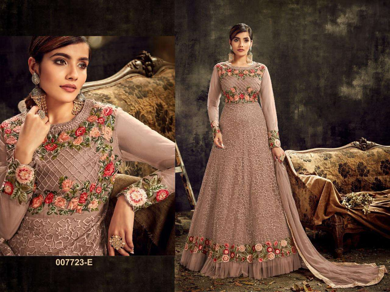 HOTLADYY 7723 DESIGNER HEAVY NET EMBROIDERY WORK PARTYWEAR UNSTITCHED GOWN WITH DUPATTA IN SINGLES