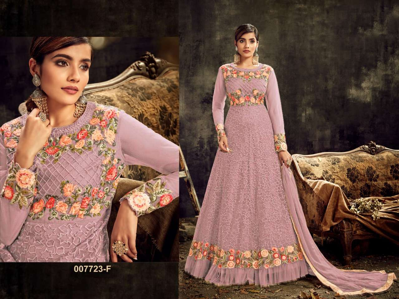 HOTLADYY 7723 HEAVY NET EMBROIDERY WORK PARTYWEAR UNSTITCHED GOWN WITH DUPATTA IN SINGLES