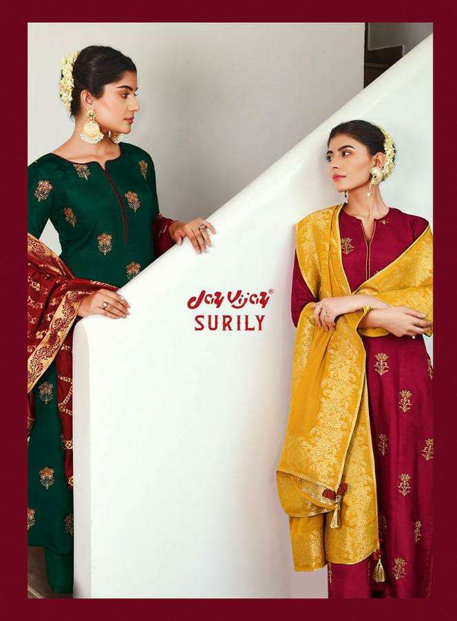 JAY VIJAY SURILEY DESIGNER BEMBERG SILK WITH EMBROIDERY WORK SUITS WHOLESALE