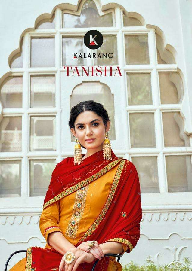 KALARANG TANISHA DESIGNER JAM SILK COTTON WITH COADING EMBROIDERY WORK AND SEQUENCE WORK SUITS WHOLESALE