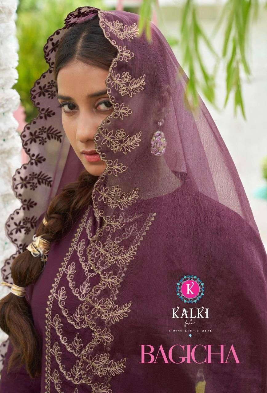 KALKI BAGICHA DESIGNER VISCOSE SILK WITH SEQUENCE WORK AND EMBROIDERY WORK PARTYWEAR OR OCCASIONAL WEAR READYMADE SUITS WHOLESALE