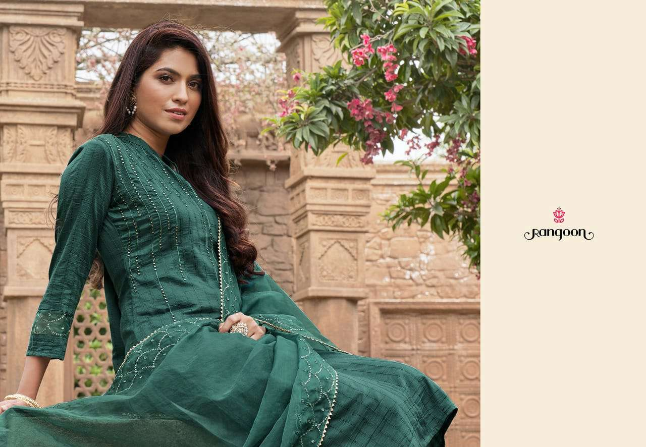 KESSI RANGOON SAFRON DESIGNER FANCY SILK WITH SEQUENCE WORK READYMADE SUITS WHOLESALE