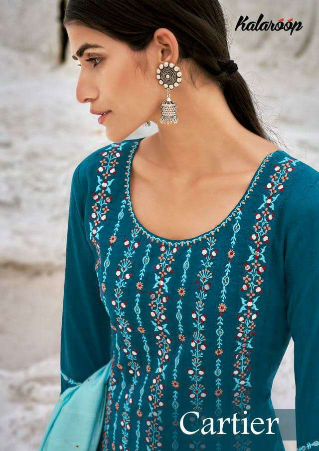 KIVI BY KAJREE CARTIER DESIGNER PARAMPARA SILK WITH EMBROIDERY WORK AND MIRROR WORK SUITS WHOLESALE