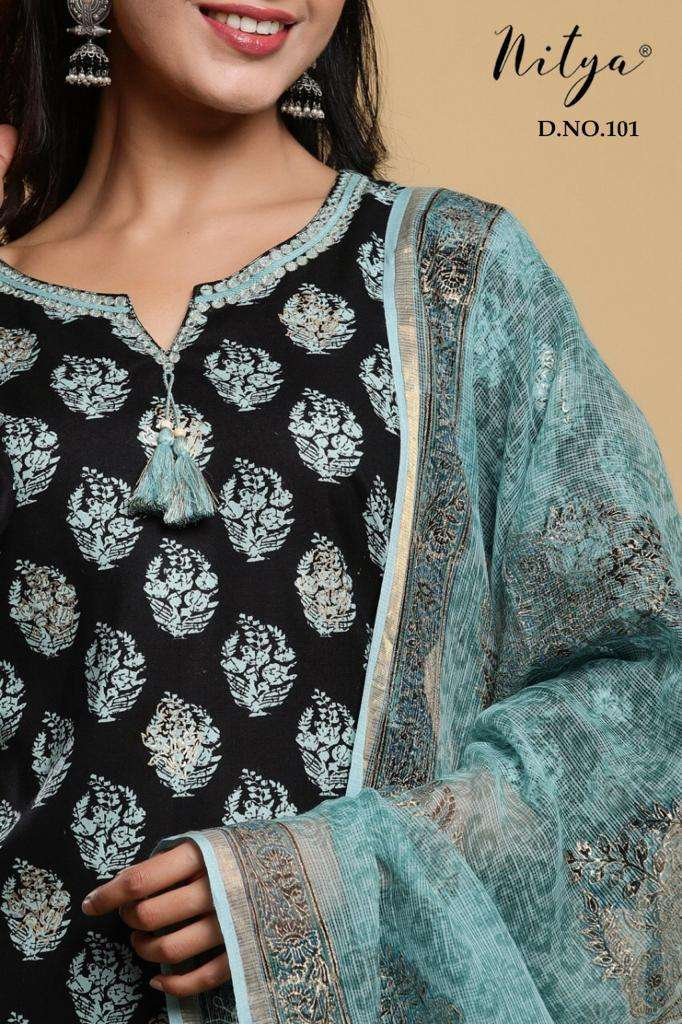 LT FABRICS NITYA D.NO 129 DESIGNER RAYON PRINT WITH NECK EMBROIDERY AND FANCY TUSSELS COTTON BOTTOM AND COTTON DORIYA PRINTED DUPATTA READYMADE WHOLESALE