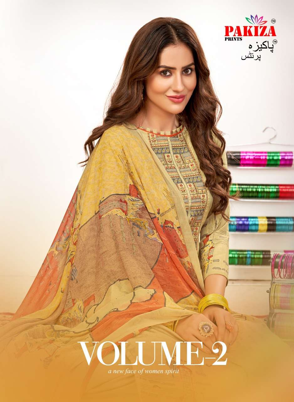 PAKIZA PRINTS VOL 2 DESIGNER FRENCH CREPE WITH EMBROIDERY WORK WITH DIAMOND SUITS WHOLESALE