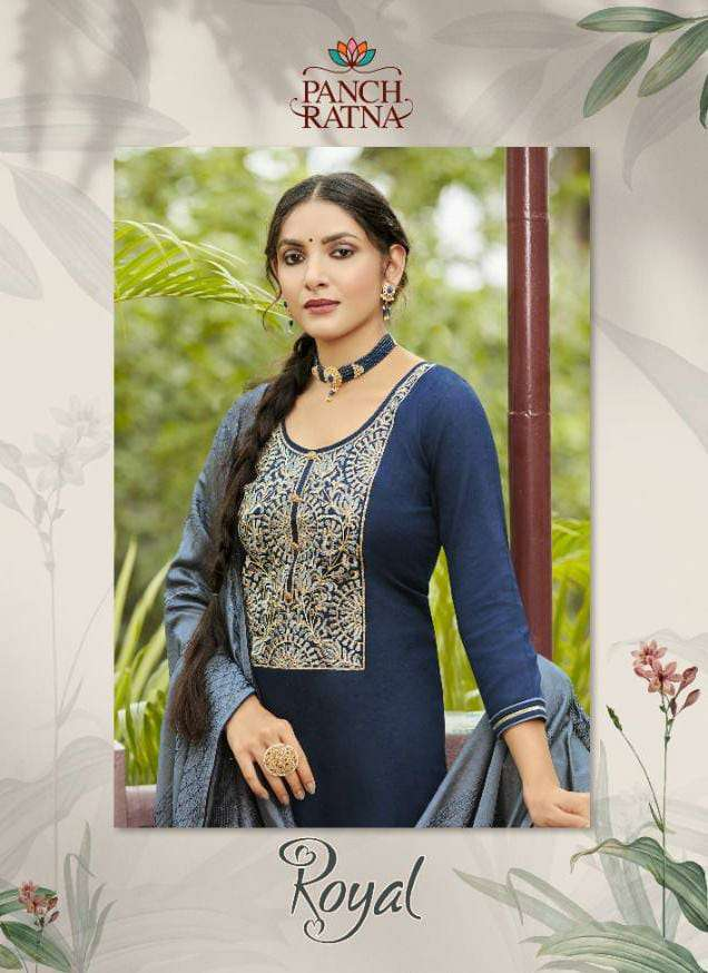 PANCH RATNA ROYAL DESIGNER JAM SILK WITH BRIDAL EMBROIDERY WORK PARTYWEAR SUITS WHOLESALE