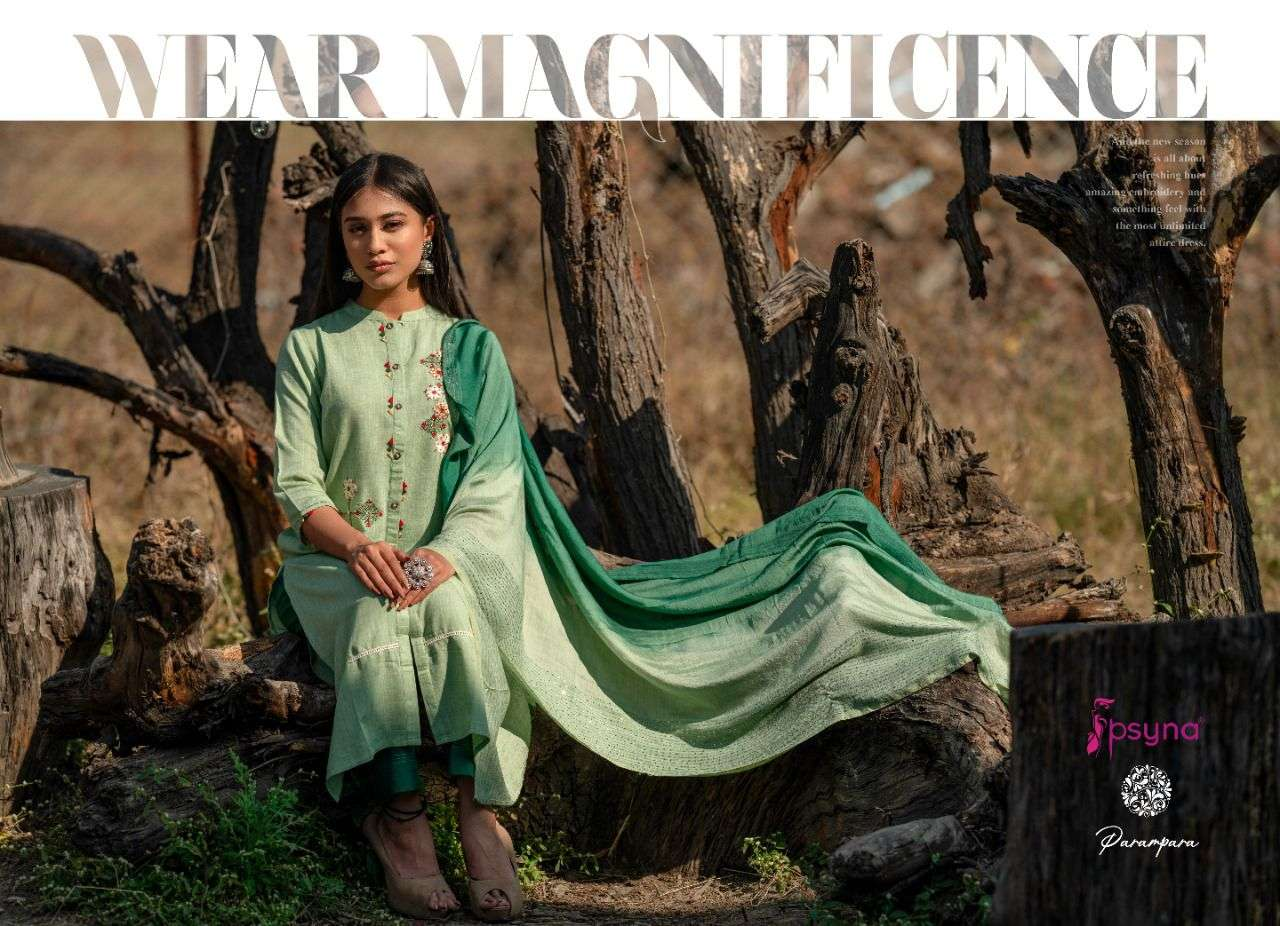 PSYNA PARAMPARA DESIGNER VISCOSE LUREX EMBROIDERY WORK AND HANDWORK READYMADE PARTYWEAR SUITS WHOLESALE