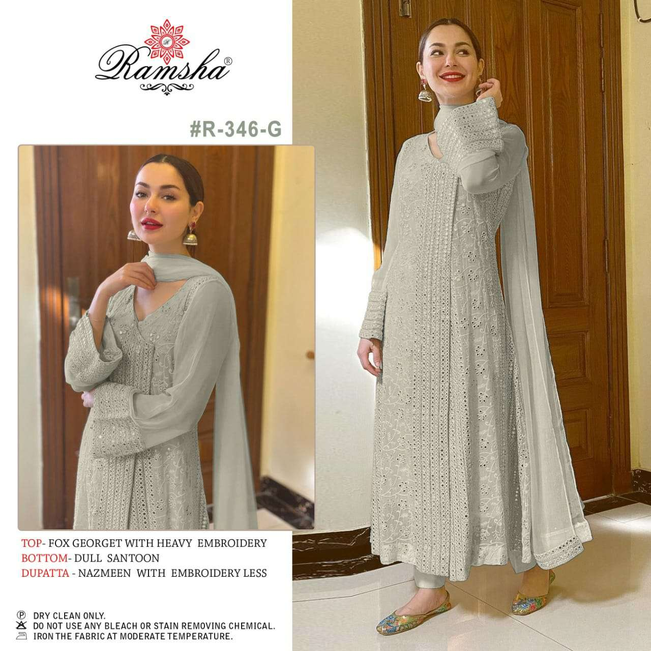 RAMSHA R 346 NX 2 DESIGNER GEORGETTE WITH HEAVY EMBROIDERY WORK PAKISTANI REPLICA SUITS IN SINGLES