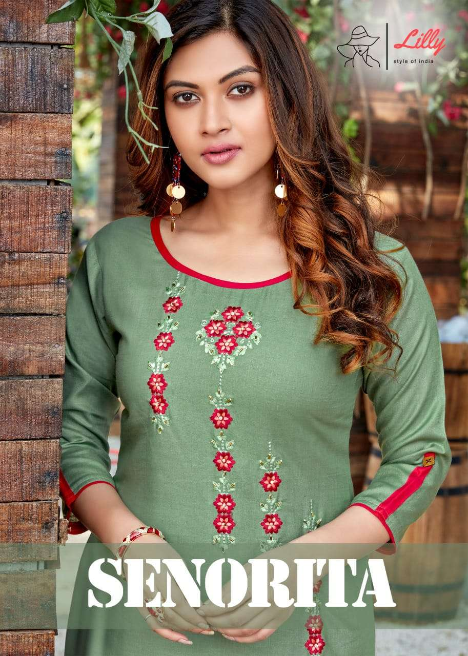 SENORITA LILY STYLE OF INDIA DESIGNER RAYON EMBROIDERY WORK WITH HANDWORK TOUCH KURTIS WHOLESALE